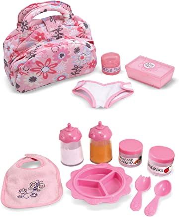 Melissa & Doug Mine to Love Doll Feeding and Changing Accessories Set, Diaper Bag Set, Baby Food & Bottle Set, Promotes Pretend Play Skills