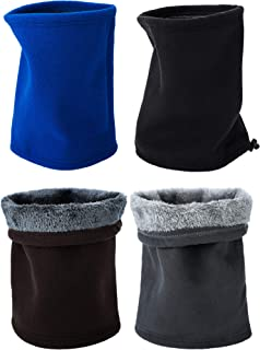 4 Pieces Winter Double-layer Neck Warmer Neck Gaiter Tube Soft Fleece Thick Scarf for Men and Women
