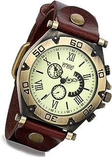 Lancardo orologio da polso con cinturino in pelle marrone con quadrante numeri romani per uomo donna, movimento di quarzo,...