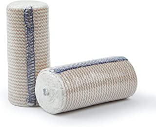 Premium Elastic Bandage Wrap Compression Roll, Includes Hook and Loop Closure, Set of 2 Pack FDA Approved, One Rolls of Each Size 4 Inch x 4.6 Meter Polyester Cotton.