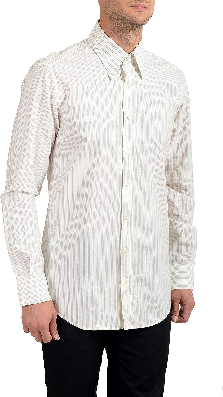 Dolce&Gabbana Men's Striped Slim Long Sleeve Dress Shirt US 16 IT 41