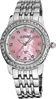 August Steiner Women's Luxury Dress Watch - Crystal Bezel around Pink Dial with Diamond Hour Markers on Silver Bracelet - AS8045