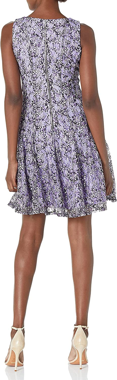 Gabby Skye Women's Sleeveless Round Neck Lace Fit and Flare Dress