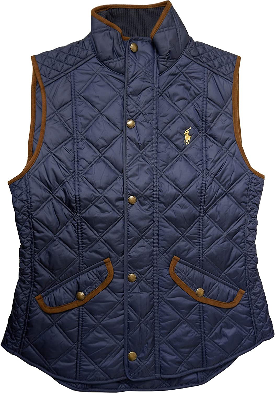 Polo Ralph Lauren Women's Faux-Leather-Trim Quilted Vest, Navy