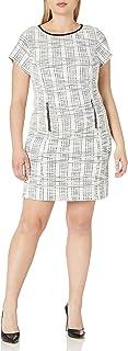 Sharagano Women's Plus Size Short Sleeve Boucle Dress