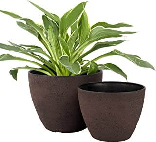 LA JOLIE MUSE Flower Pots Outdoor Indoor Garden Planters, Plant Containers with Drain Hole, New Iron (8.6 + 7.5 Inch)