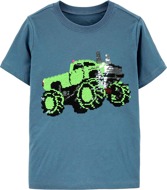 Toddler Boys Flip Sequin Tee Dinosaur Shirt Cotton Short Sleeve T-Shirts Truck Tops