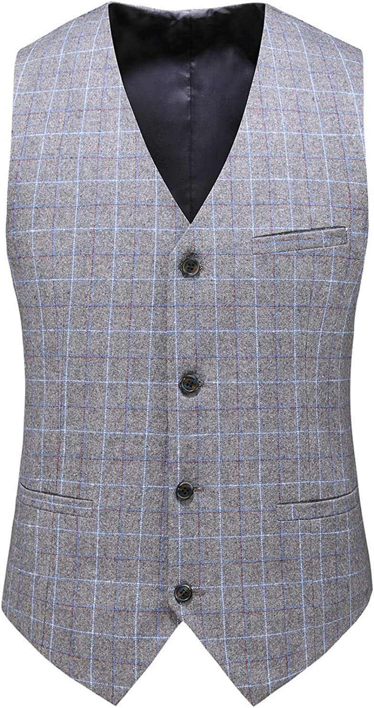 MOGU Mens Plaid Suit Vest Slim Fit Prom Party Waistcoat