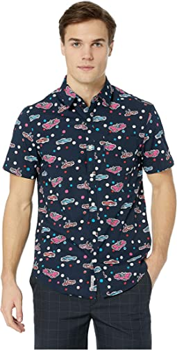 Short Sleeve Car Print Shirt - Stretch