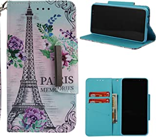 NVWA Compatible Apple iPhone XS Case,iPhone X Case,iPhone 10 Case,iPhone Ten Case Leather Wallet Phone Cover [Kickstand Wrist Strap][ID Card Slot] Flip Full Body Protective Magnetic Stand Eiffel Tower