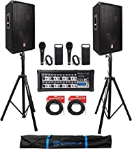 "(2) Rockville RSG12.4 12"" 3-Way 1000w DJ PA Speakers+Powered Mixer+Mics+Stands"