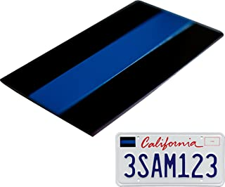Aluminum Thin Blue Line License Sticker Blue Lives Matter Decal   In Support of Police Officers and Law Enforcement (1 Pack)