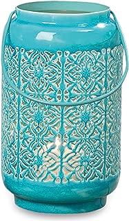 Whole House Worlds Key West Tropical Turquoise Blue Wind Light, Hurricane Candle Lantern, Vintage Style, Tiles Lattice Pattern, Glazed Iron, 9 3/4 Inches Tall