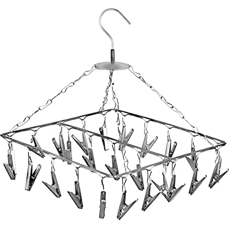 Angel Bear 25 Clips Stainless Steel Square Cloth Dryer/Clothes Drying Stand/Hanger with Clips (Made in India) - 1 Year Rustproof Warranty