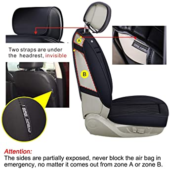 LUCKYMAN CLUB 5 Car Seat Covers Full Set with Waterproof Leather Universal for Most Sedan SUV Truck Fit for Elantra S...