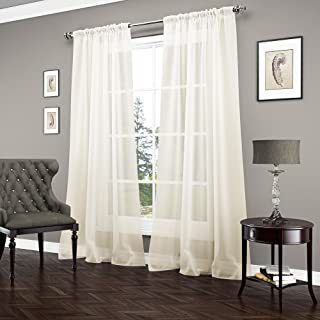 """VUE SIGNATURE Sheer Curtains for Bedroom - Carrington 52"""" x 95"""" Light Filtering Single Panel Rod Pocket Window Treatment for Living Room, Ivory"""