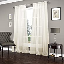 "VUE SIGNATURE Sheer Curtains for Bedroom - Carrington 52"" x 84"" Light Filtering Single Panel Rod Pocket Window Treatment f..."