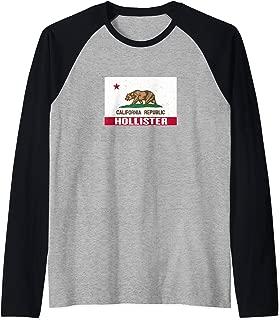 Hollister, California - Distressed CA Republic Flag Raglan Baseball Tee