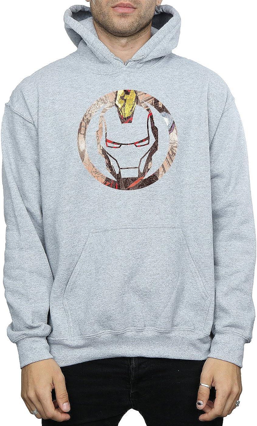Marvel Homme Iron Man Montage Symbol Sweat À Capuche Sport Gris
