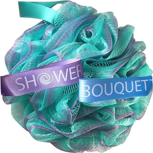 Loofah Bath-Sponge Swirl-Set-XL-75g by Shower Bouquet: Extra-Large Mesh Pouf (4 Pack Color Swirls) Luffa Loofa Loufa ...