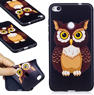 Huawei P8 Lite (2017) Case, FIREFISH Flexible TPU Gel Silicone Embossed Printing [Anti Slip] [Scratch Resistances] Easy Grip Back Cover Shell for Huawei P8 Lite (2017) -Owl-A
