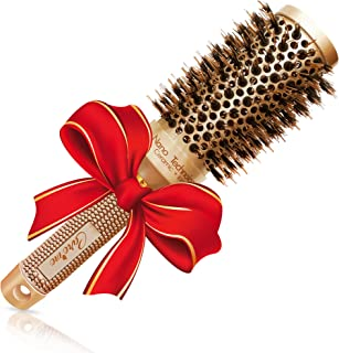 Blow out Round HairBrush with Natural Boar Bristles for Blow Drying | Straightening| Curling - Best Styling Brush for Medium Length Hair or Want Wavy | Curled Hair (1.7