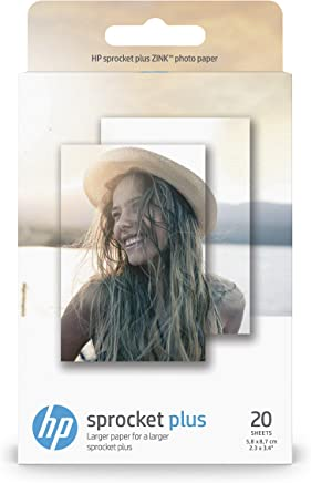 HP 2LY72A Sprocket Plus Photo Paper per Stampe di Elevato Effetto, Confezione da 20 Fogli Originali, Lucidi e Adesivi, 5.8 x 8.6 cm, Grammatura 258 g/m², Bianca