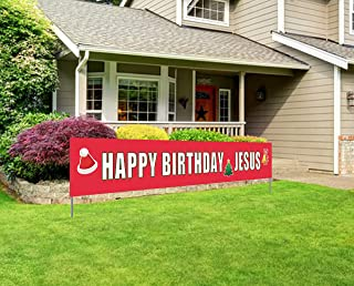 Happy Birthday Jesus Banner | Large Christmas Sign | Huge Xmas House Outdoor Party Decorations