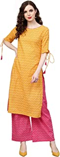 INDO ERA Women's Pure Cotton Straight Palazzo Kurta Set (Yellow)