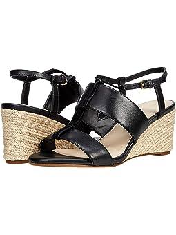 콜한 샌들 Cole Haan Arlta Espadrille Wedge Sandal,Black Leather/Suede