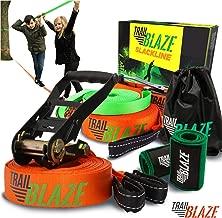 Premium Slackline Kit with Training Line - Ideal for Beginners Kids - Tree Protectors Arm Trainer Ratchet Cover - Easy Setup Slack Lines Outdoor Healthy Fun - Slacklines Starter Kit