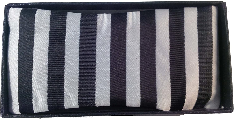 Men's Black & White Stripes Reversible Bow tie And Handkerchief Set