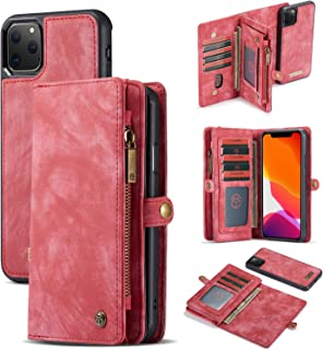 iPhone 11 Pro Max Case Wallet, eVord 2 in 1 [Detachable Magnetic] Wallet Folio [Zipper Cash Storage] 11 Card Slots + 3 Cash Pocket Leather Purse Removable Slim Cover for iPhone 11 Pro Max 6.5Inch Red