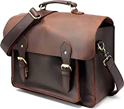 Full Grain Leather DSLR Camera Bag, Multipurpose Real Hunter Leather 15-Inch Briefcase, Shoulder Messenger Satchel Fits 15.6-Inch Laptop with Removable Insert, Chocolate Brown