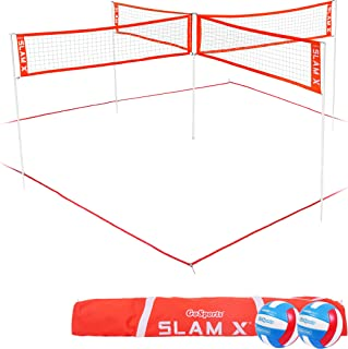 GoSports Slam X 4 Way Volleyball Game Set - Ultimate Backyard & Beach Game for Kids and Adults
