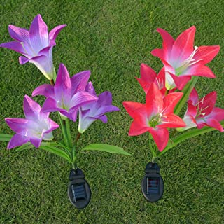 Sumai Outdoor Solar Light Lily Solar Garden Stake Flower Lights for Garden Yard Lawn NightLight Lamp Landscape Garden Home...