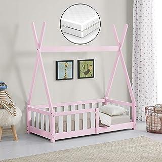 [en.casa] Barnsäng med madrass 70 x 140 cm rosa med fallskydd i Tipi-design av furu ungdomssäng träsäng hussäng