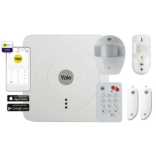Yale SR-3200i 3200 Alarme Maison Connectée Pack Vision+, Système Anti-Intrusion sans Fil Complet : Sirène 104dB + Détecteurs de Mouvement + Ouverture | Notifications Push, Email et SMS, Blanc