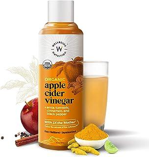 Wellbeing Nutrition USDA Organic Himalayan Apple Cider Vinegar (2X Mother) with Amla (Vitamin C for Immunity), Turmeric, C...