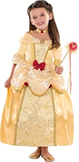Belle Costume Supreme for Girls, Size Small, Includes a Gold Brocade Dress and a Matching Choker Necklace