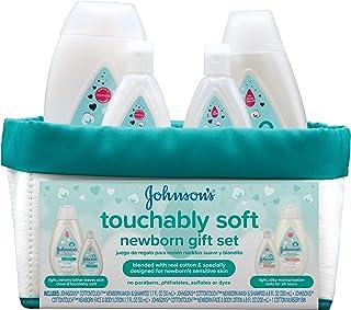 جانسون Softably New Baby Baby Gift Set، Baby Bath & Skincare برای پوست حساس، 5 مورد