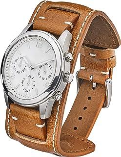 ALPINE Genuine Vintage Leather Cuff Watch Band - Black, Brown, Tan in Sizes 20mm, 22mm & 24mm