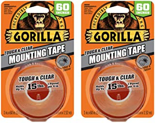 """Gorilla Tough & Clear Double Sided Mounting Tape, 1"""" x 60"""", Clear, (Pack of 2)"""