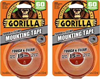 """Gorilla 6065016 6065001-2 Tough Mounting Tape, Double-Sided, 1"""" x 60"""", Clear, (Pack of 2), 2-Pack, 2 Piece"""