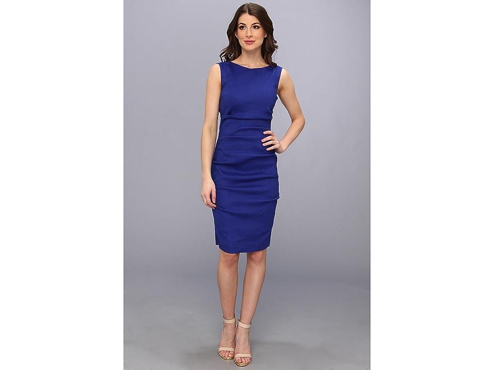 Nicole Miller Lauren Stretch Linen Dress (Blue) Women