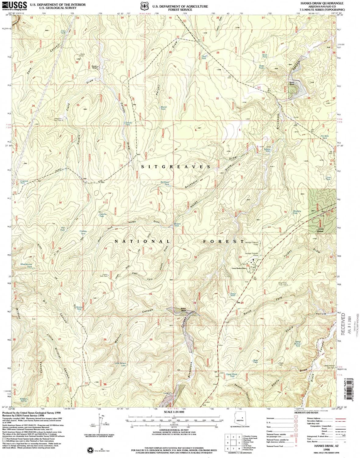 Hanks Draw AZ topo map, 1 24000 Scale, 7.5 X 7.5 Minute, Historical, 1998, Updated 2000, 26.8 x 22 in