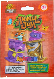 Animal Jam Abatons 4 Pack Blind Bag Includes 4 Abatons, 4 Stickers, Plus A Game Code