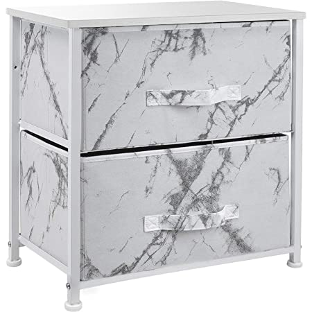 Sorbus Nightstand with 2 Drawers - Bedside Furniture & Night Stand End Table Dresser for Home, Bedroom Accessories, Office, College Dorm, Steel Frame, Wood Top (Marble White – White Frame)