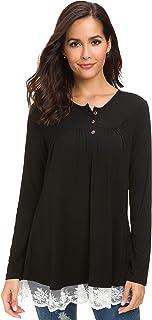 قمصان نسائية من Afibi قمصان كاجوال برقبة على شكل حرف V وأكمام طويلة بأزرار فضفاضة تناسب التونيك