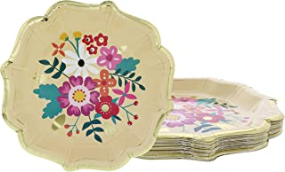 Disposable Plates - 24-Count Paper Plates, Vintage Floral Party Supplies for Appetizer, Lunch, Dinner, and Dessert, Bridal Showers, Weddings, Gold Foil Scalloped Edge Design, 9.2 x 9.2 inches